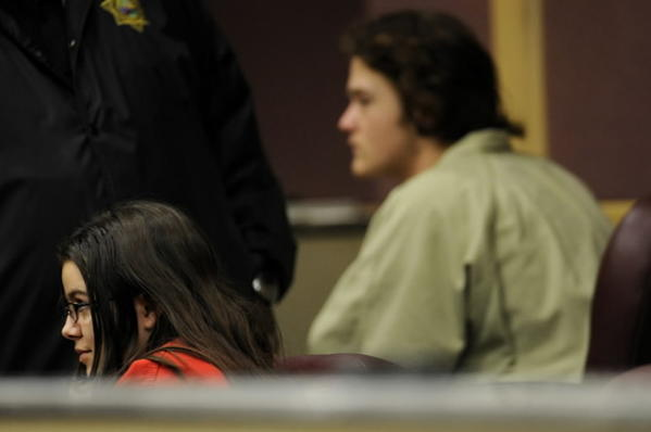 Kayla Manson, foreground, at an April 2010 court appearance. Also pictured is Wayne Treacy, convicted earlier this month of attempted murder in the beating of Josie Lou Ratley.