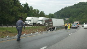 Tractor-trailer accident on I-81 in Botetourt County slowing traffic