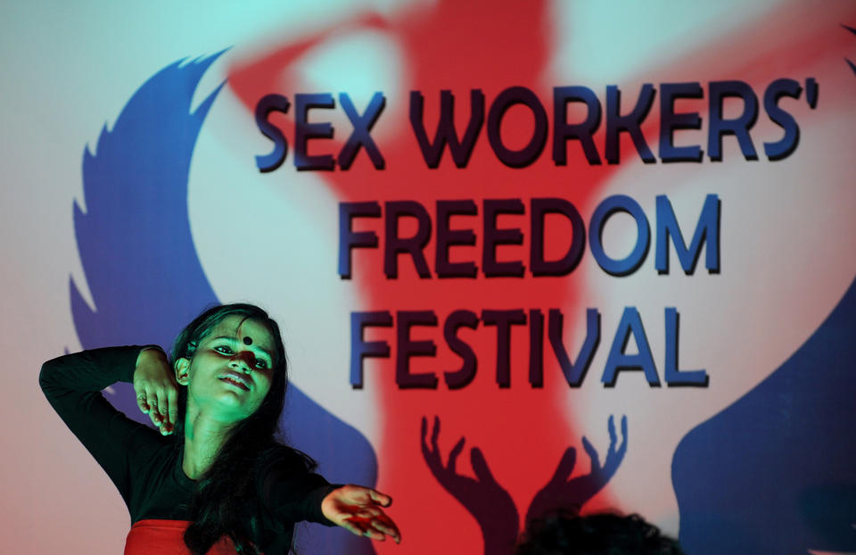 <p>Children of Indian sex workers perform a dance drama during the Sex Workers' Freedom Festival in Kolkata on July 22, 2012.</p>