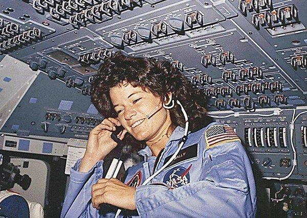 Sally Ride speaks with ground controllers during her six-day space mission on the Challenger in 1983.