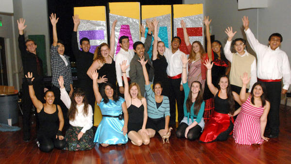"The cast of the play ""Fame, The Musical"" poses for a photo Monday at the Old Post Office Pavilion in El Centro."