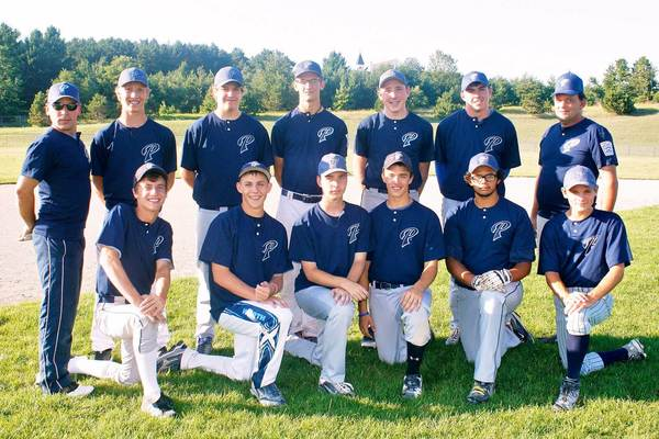 The Petoskey Little League Senior Division (ages 14-16) tournament team will host the state championship tournament beginning Wednesday, July 25. Team members are front (from left) Patrick Tuck, Nick Strobel, Tyler Cain, Jacob Budnik, Nate McGann, Danny Clancy; back, coach Mark Elliott, Cam Plath, Parker Monley, Kenny Gray, Aiden Holliday, Cole Paul, coach Mike McGann. Absent, Aaron Broman.
