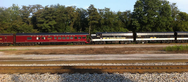 A vintage Norfolk Southern train stopped in Hagerstown at the Norfolk Southern Vardo Yard on Tuesday morning.