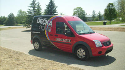 Decka Digital of Harbor Springs, a new printing company, uses its Decka mobile van for promotion as well as pick-up and delivery service.
