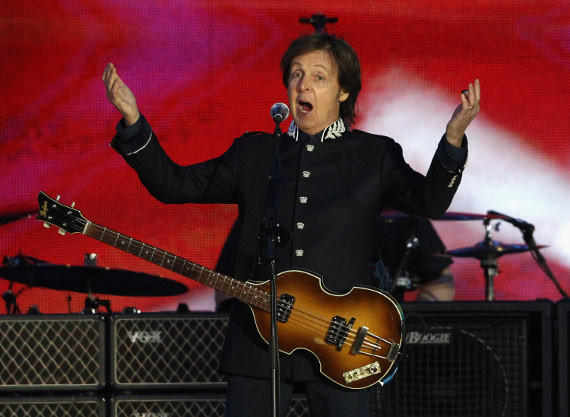 Paul McCartney performing at the recent Diamond Jubilee Concert at Buckingham Palace.