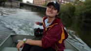 Rowing coach Jenn Gibbons watches a team in rowing practice in 2010. Terrence Antonio James/ Chicago Tribune
