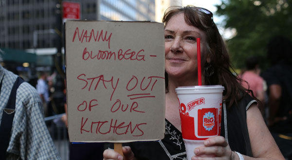 Andrea Herbert attends a protest against New York Mayor Michael R. Bloomberg's proposal to prohibit establishments in the city from selling sugary sodas of 16 ounces or more.