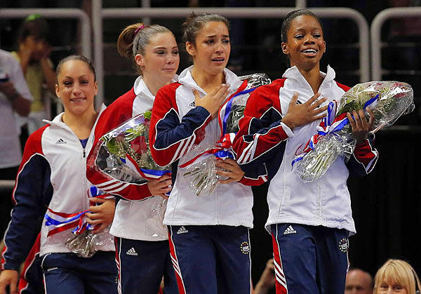 From left, Jordyn Wieber, McKayla Maroney, Alexandra Raisman and Gabrielle Douglas are introduced as members of the U.S. women's Olympic team.