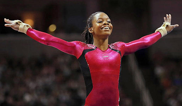 Gabrielle Douglas finishes her floor exercise during the trials. Douglas upset favorite Jordyn Wieber on the final day. To be continued in London.