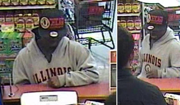 Surveillance photos of a man suspected of robbing an Elmhurst bank on Monday. FBI photos