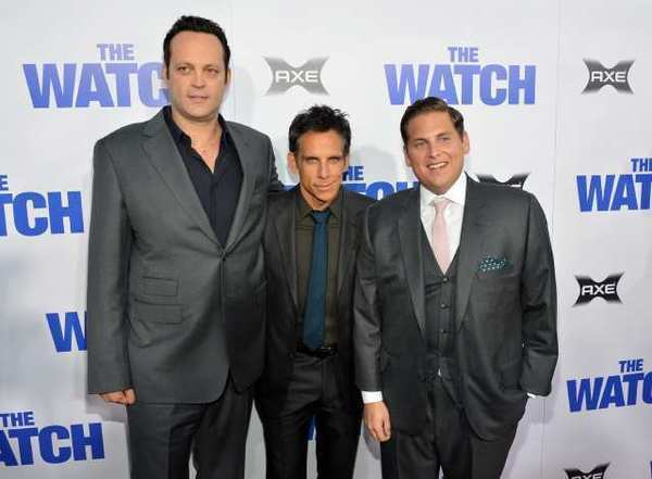 "Vince Vaughn, Ben Stiller, and Jonah Hill arrive at the premiere ""The Watch"" at Grauman's Chinese Theatre."