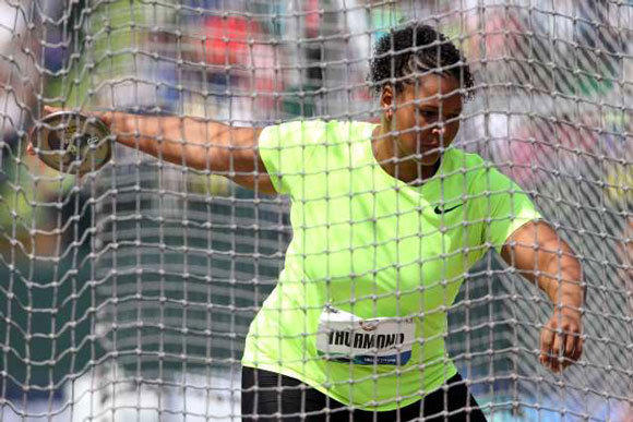 Aretha Thurmond competes in the women's discus at the U.S. Olympic trials in June.