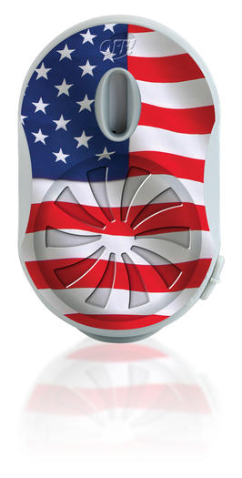 Off! Clip-On mosquito repellent features many motifs including the American flag.