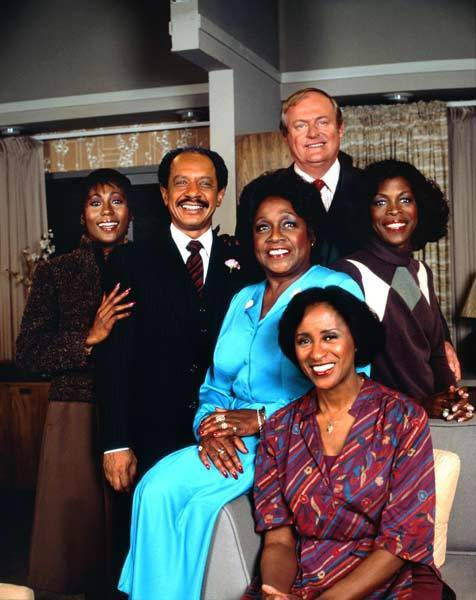 The cast of the TV sitcom 'The Jeffersons' (L-R Berlinda Tolbert, Sherman Hemsley, Isabel Sanford, Franklin Cover, Roxie Roker and Marla Gibbs (seated)) circa 1977 in Los Angeles, Calif.