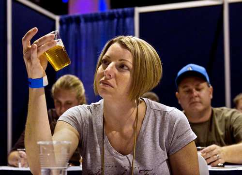 At the You Be the Judge pavilion, Great American Beer Festival attendees can learn the basics of what competition judges do when evaluating beers during the festival's competition.