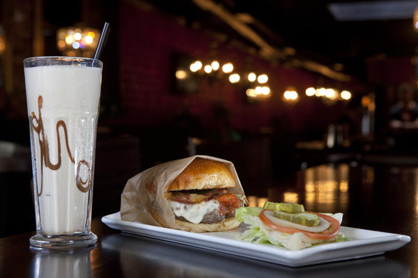 Spiked milkshake and burger at 25 Degrees