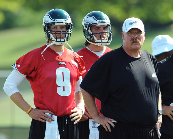 Coach Andy Reid and Quarterbacks Nick Foles (left) and Trent Edwards during practice Tuesday afternoon. Philadelphia Eagles rookies and selected vets practice at Lehigh University training camp Tuesday.
