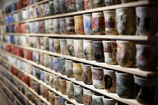 Ehren Tool's stoneware with ceramic decals.