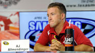 "AJ Allmendinger, driver of the No. 22 Penske Racing Dodge in the NASCAR Sprint Cup Series, was suspended indefinitely from NASCAR competition after his backup ""B"" urine sample collected June 29 came back positive Tuesday for a banned substance."