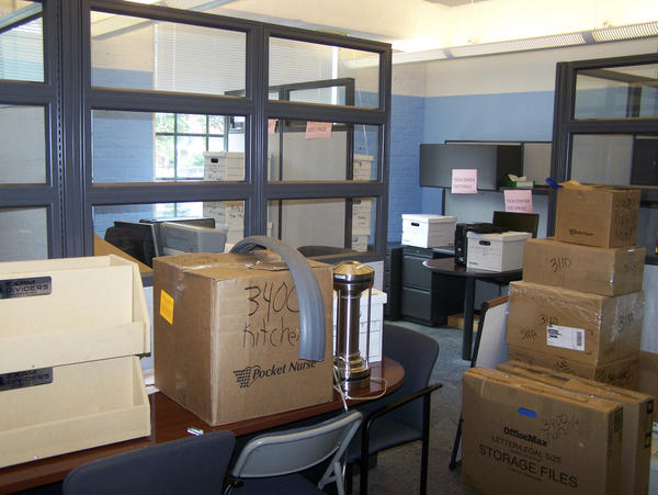Items are boxed and labeled for Blue Ridge Community and Technical College's move to a new campus.