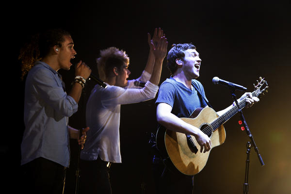 "Deandre Brackensick, from left, Colton Dixon and Phillip Phillips were part of the Idols Live performers at Nokia Theatre. Phillips is ""American Idol's"" 11th-season winner."