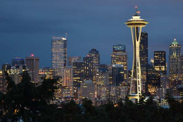 The Space Needle is the centerpiece of this skyline view of Seattle from Kerry Park on Queen Anne Hill
