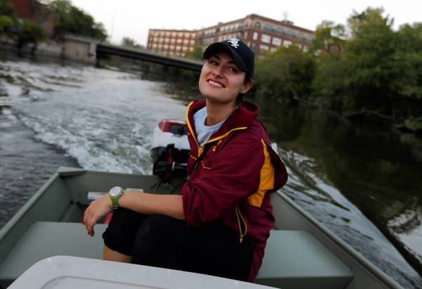 Jenn Gibbons, seen on the Chicago River in 2010, is more than halfway to her goal of raising $150,000 to help breast cancer survivors.