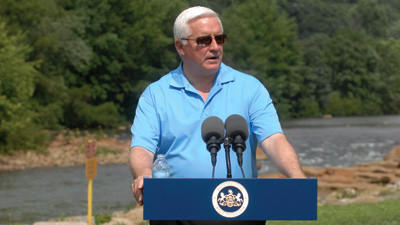 Gov. Tom Corbett stopped in Tire Hill at Stonycreek Whitewater Park as part of his tour to promote the state's recreational areas.