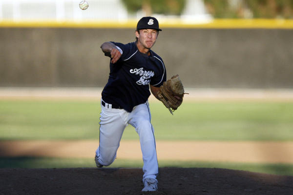 Saints' Corey Copping pitches the ball during a game against Astros at Jackie Robinson Field in Pasadena on Tuesday, July 24, 2012.
