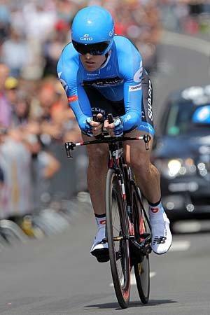 Tyler Farrar of the USA riding for Garmin-Sharp races to 30th place in the prologue of the 2012 Tour de France.