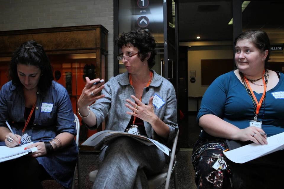 Jordan LaSalle, Jane Bilger and Mari Rice discuss their concerns with the Chicago Cultural Plan Tuesday.