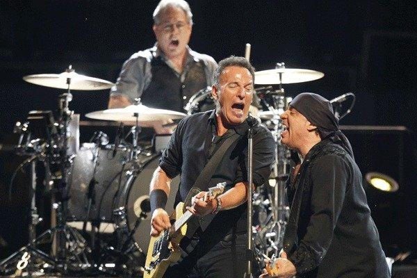 Bruce Springsteen, center, with Steven Van Zandt and drummer Max Weinberg.