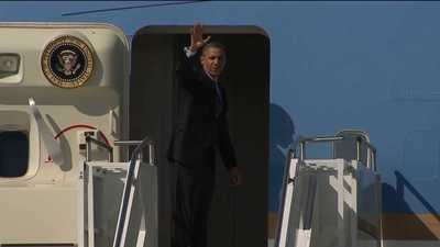 Obama heads east after a night of fundraising in Seattle