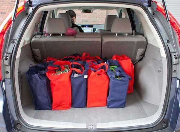 The smallest cargo area was in the Hyundai Tucson, at 25.7 cubic feet. The largest in the Honda CR-V, above, at 37.2 cubic feet. The 11.5 cubic feet of difference is about the same as the cargo area in two Mini Cooper hatchbacks.