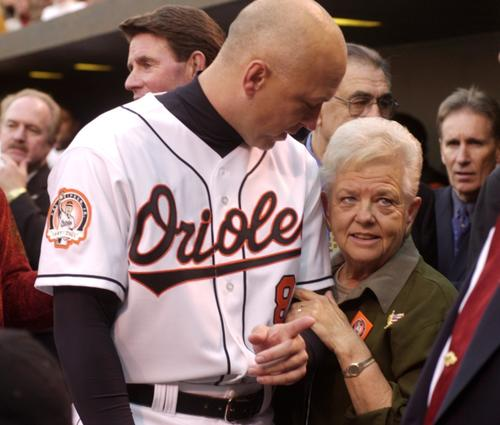 In 2001, Cal Ripken chats with his mother Vi Ripken prior to the start of the festivities celebrating his last game.