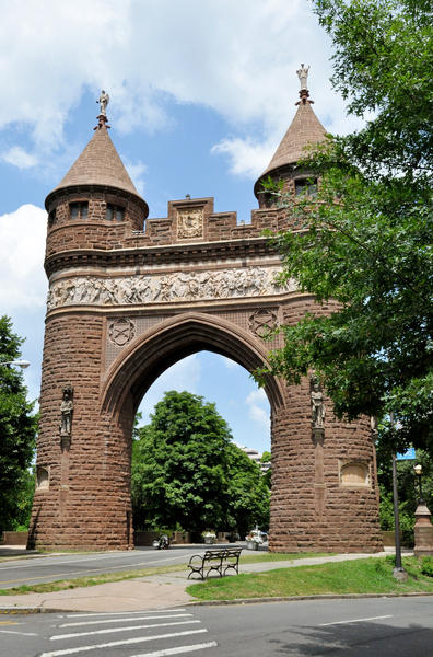 This landmark is the Soldiers and Sailors Memorial Arch in Hartford's Bushnell Park. The arch is decorated with the images of Connecticut Civil War soldiers. Each tower is topped with a statue of an angel.