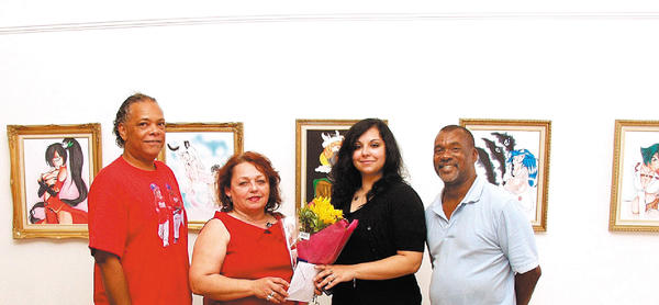 Pictured, from left, are Darrell Powell, gallery vice president; Doina Moulin, the artists mom; artist Beatrice Moulin; and Ron Lytle, executive director of the gallery.