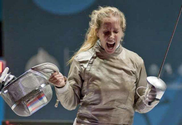 Mariel Zagunis wins a fencing competition in October 2011.
