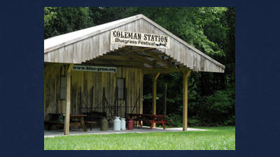 The Custer family constructed their first covered stage last year in preparation for their annual Coleman Station Bluegrass festival being held Friday and Saturday.