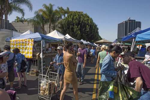 View of the Hollywood farmers market, run by a nonprofit organization, Sustainable Enterprises of Los Angeles, which is hiring a new executive director.