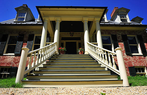 Front steps at Long Meadows historic home were rebuilt to reflect style preferred by an earlier owner.