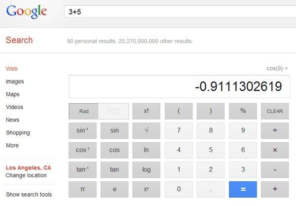 A screen shot of Google's new scientific calculator, which the company made part of the search function Wednesday.