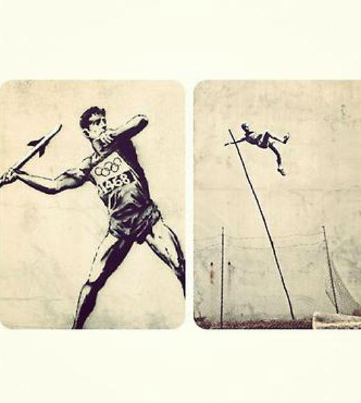 Pretty stoked on Banksy's new Olympic street art  <i>--@kkaterynn</i>