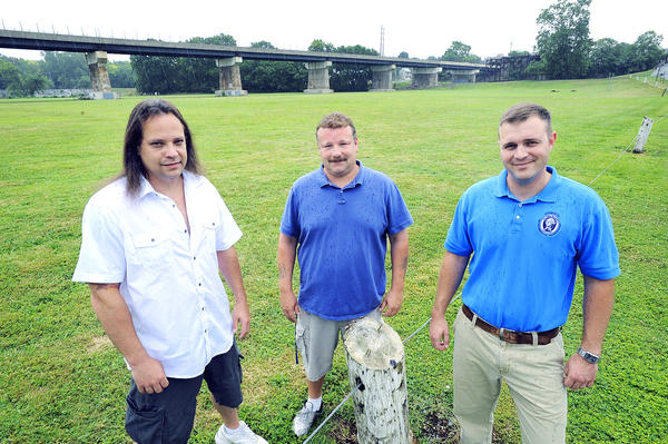 The town of Williamsport will have a rock concert fundraiser at River Bottom Park this fall. From left, are: Rik Parks, the entertainment coordinator, Bill Green, Williamsport Town Councilman and Alex Reed, Washington County Watershed Specialist. The concert, called Rockin' at River Bottom, will be Sept. 15. Five bands are lined up to play.