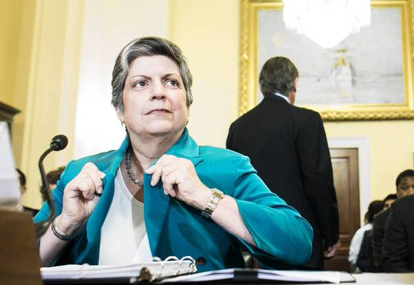 Homeland Security Secretary Janet Napolitano prepares to testify before the House Homeland Security Committee.