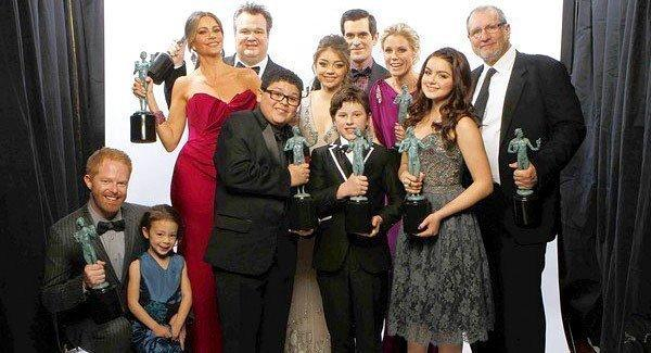"SAG Award winners: The cast of ABC's ""Modern Family"" at the 18th Annual Screen Actors Guild Awards show at the Shrine Auditorium."