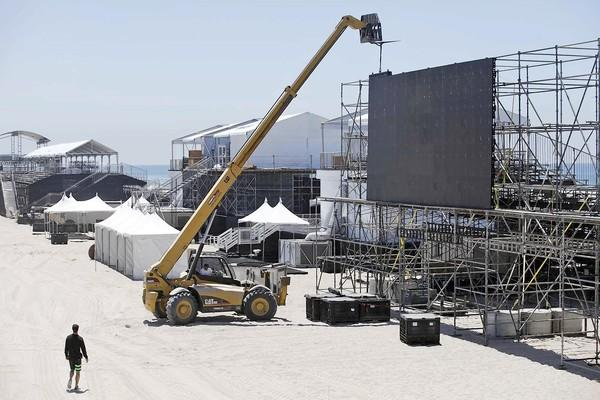 Set up work continues in preparation for the U.S. Open of Surfing.