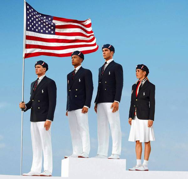 U.S. athletes, from left, swimmer Ryan Lochte, decathlete Bryan Clay, rower Giuseppe Lanzone and soccer player Heather Mitts model the U.S. Olympic uniforms made by Chinese firm Dayang Trands.