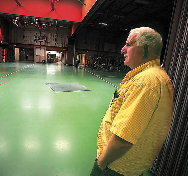 Dwight Needham, Waynesboro Area School District's supervisor of maintenance and facilities, talks Wednesday about the need for new flooring in the cafeteria at Fairview Elementary School.
