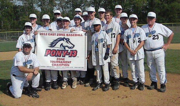 The Hagerstown PONY League 13 All-Stars won the East Zone Tournament last weekend in Cranberry Township, Pa., to earn a berth in the PONY-13 World Series in Fullerton, Calif. Hagerstown will play Mexico on Friday at 1 p.m. to start the eight-team double-elimination tournament. This is the first Hagerstown 13 team to advance to the PONY World Series. From left to right: Kneeling -- manager Dave Barr. First row -- Brooks Keller, Brandon Gooden, Bryce Sharenbroch and Myles Nicholson. Second row -- Reid Wallech, Matt Harsh, Jake Arnone, Gage Kyler, Mitchell Wilson, Isaac Schlotterbeck, Taylor Kerns and manager Russ Robinson. Back row -- coach Chris Schlotterbeck, Ryan Downes, J.P. Melby, Levi Taylor and Bryce Ruppenthal.